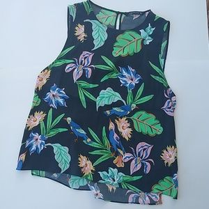 Zara Woman navy blue floral tank - medium